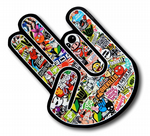 THE SHOCKER HAND With JDM Style Multi Colour Stickerbomb Motif Vinyl Car sticker decal 115x80mm